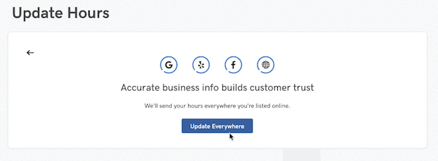 screenshot of updating business hours in GoCentral Website Builder