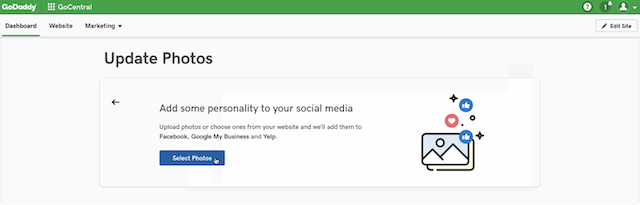 screenshot of the GoDaddy Website Builder card prompting the user to publish photos to social media