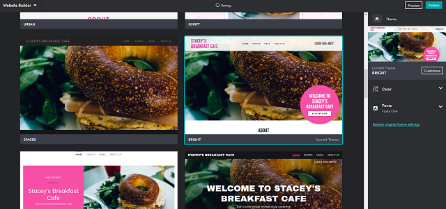 Viewing Theme Options GoDaddy Websites + Marketing for Restaurant Website
