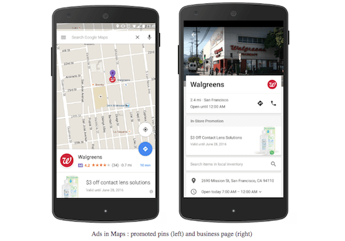 Walgreens PPC Ad in Maps