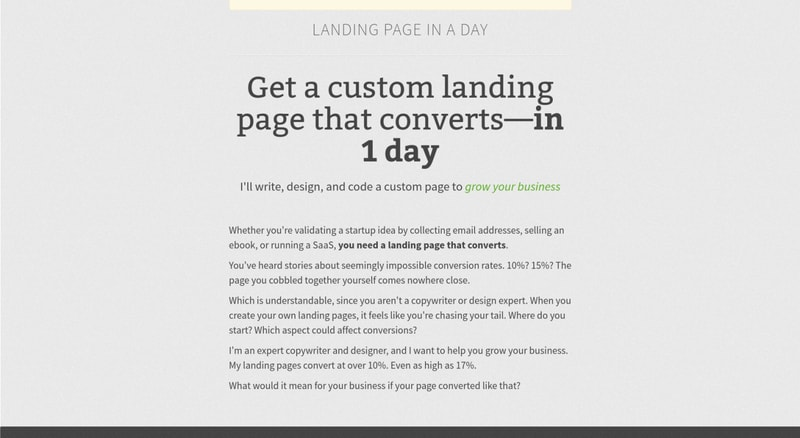 Jarrod Drysdale attracted dozens of web design clients by offering to design and build a landing page in just one day.