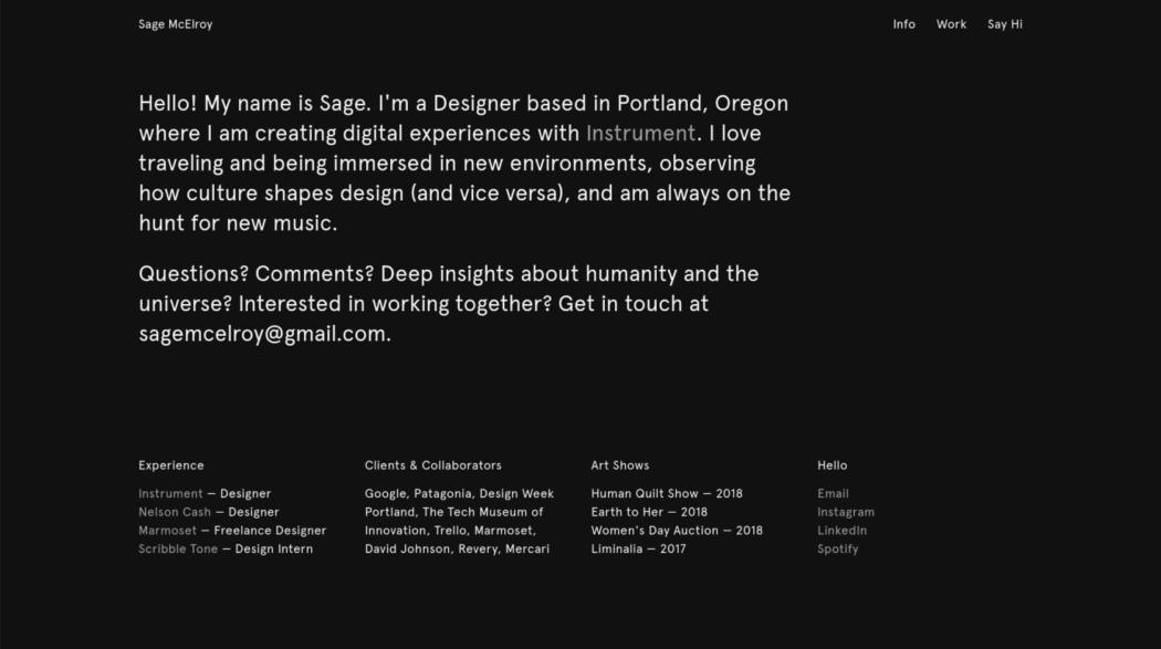 The web design portfolio of Sage McElroy
