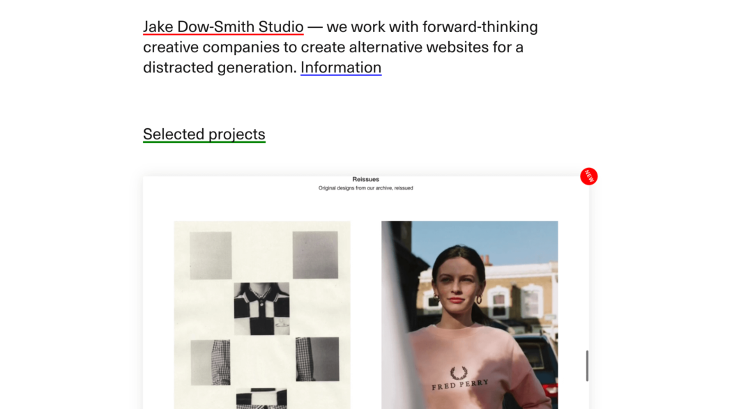 The web design portfolio of Dow Smith