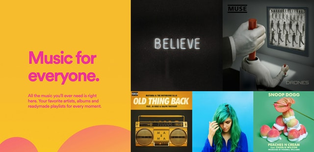 Brightly colored tiles on Spotify's website in 2015.