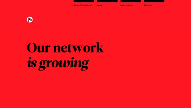The Outpost's 2016 site showed off the power of typography in web design.