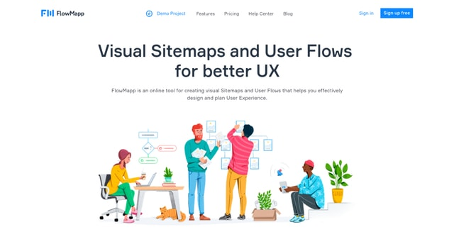 FlowMapp's custom illustrations bring a friendly feel to the site.