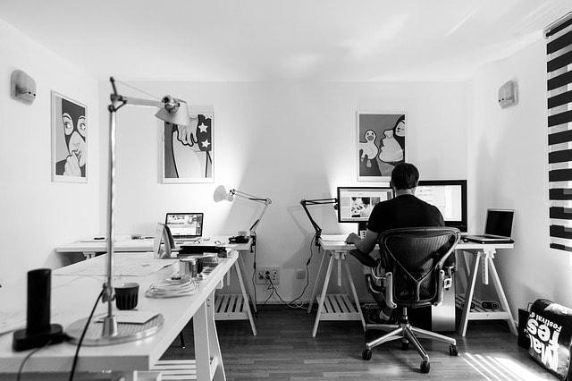 Web Designer Working Alone Home Office