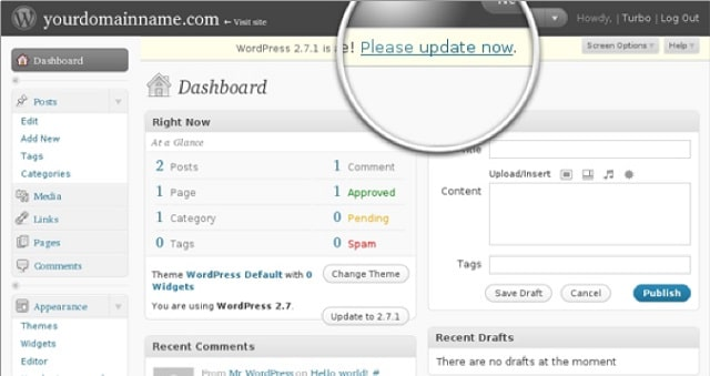 Web Page Security Update WordPress