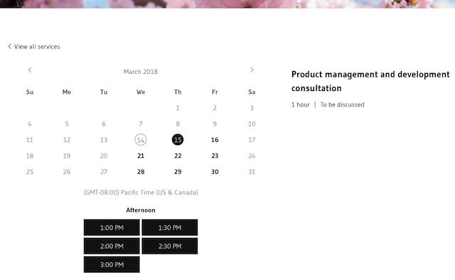 screenshot of website booking calendar