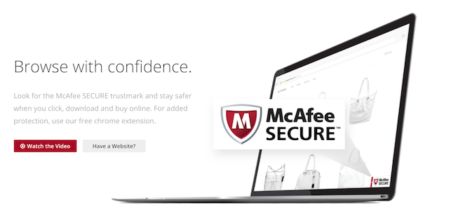McAfee Secure Website Call to Action on Website Screenshot