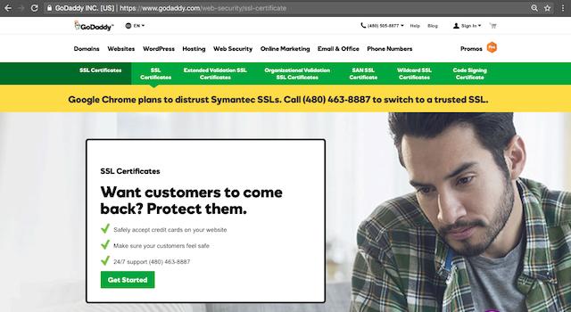 Screenshot of GoDaddy's SSL sales page