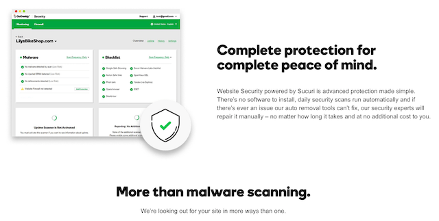 Website Security Scan Sales Page on GoDaddy Website