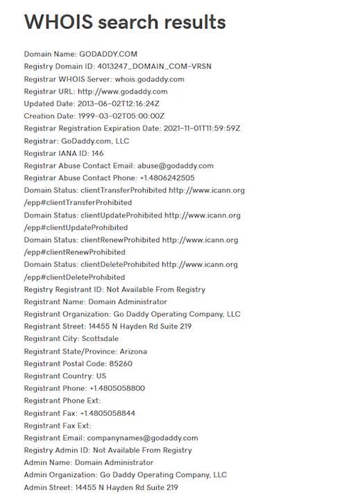 WHOIS Screenshot Showing Public Domain Registration