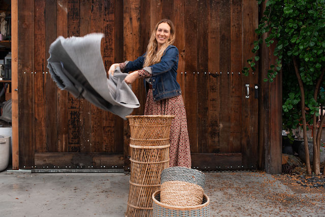 Wicker Goddess Sarah Small Waving Fabric Over Baskets