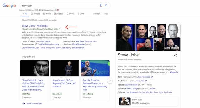 Wikipedia Steve Jobs Top Rank Google Search Results