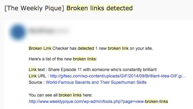 WordPress Automation Broken Link Checker