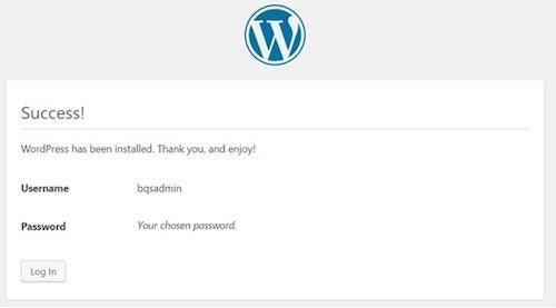 WordPress Cpanel Installation Success