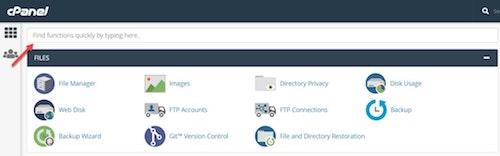 WordPress Cpanel Search Bar