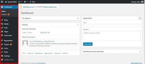 WordPress Dashboard Elements