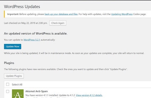 WordPress Dashboard Updates