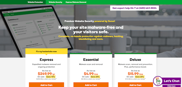 GoDaddy Website Security Sales Page