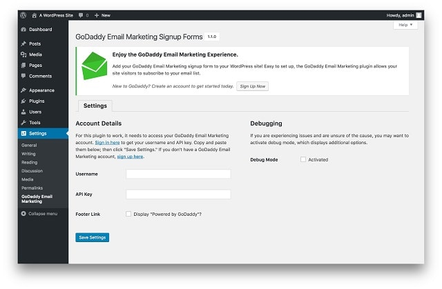 WordPress Plugins Email Subscription GoDaddy Email Marketing