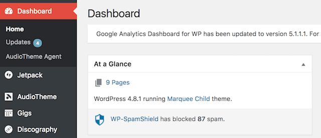 WordPress Security Updates Dashboard