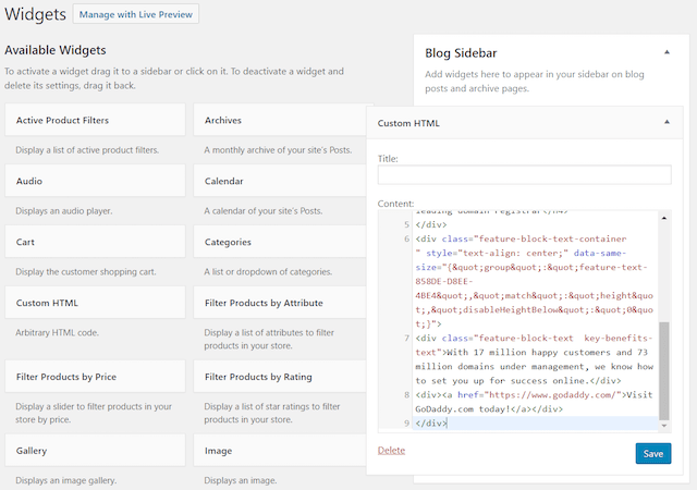 WordPress Widgets Copy HTML