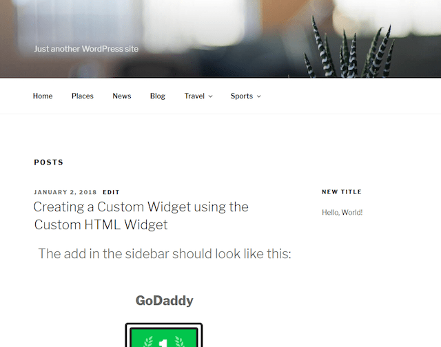 WordPress Widgets Sidebar Example
