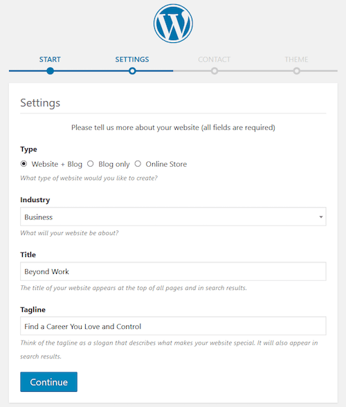 WordPress Wizard Settings Screen