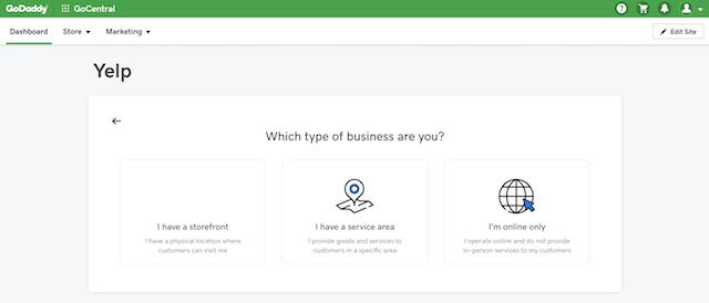screenshot showing Yelp setup