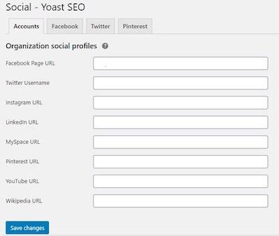 Yoast SEO Organization Social Profiles
