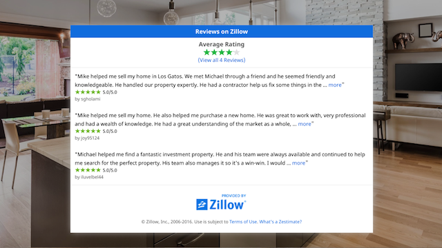 screenshot of Zillow reviews on GoCentral website